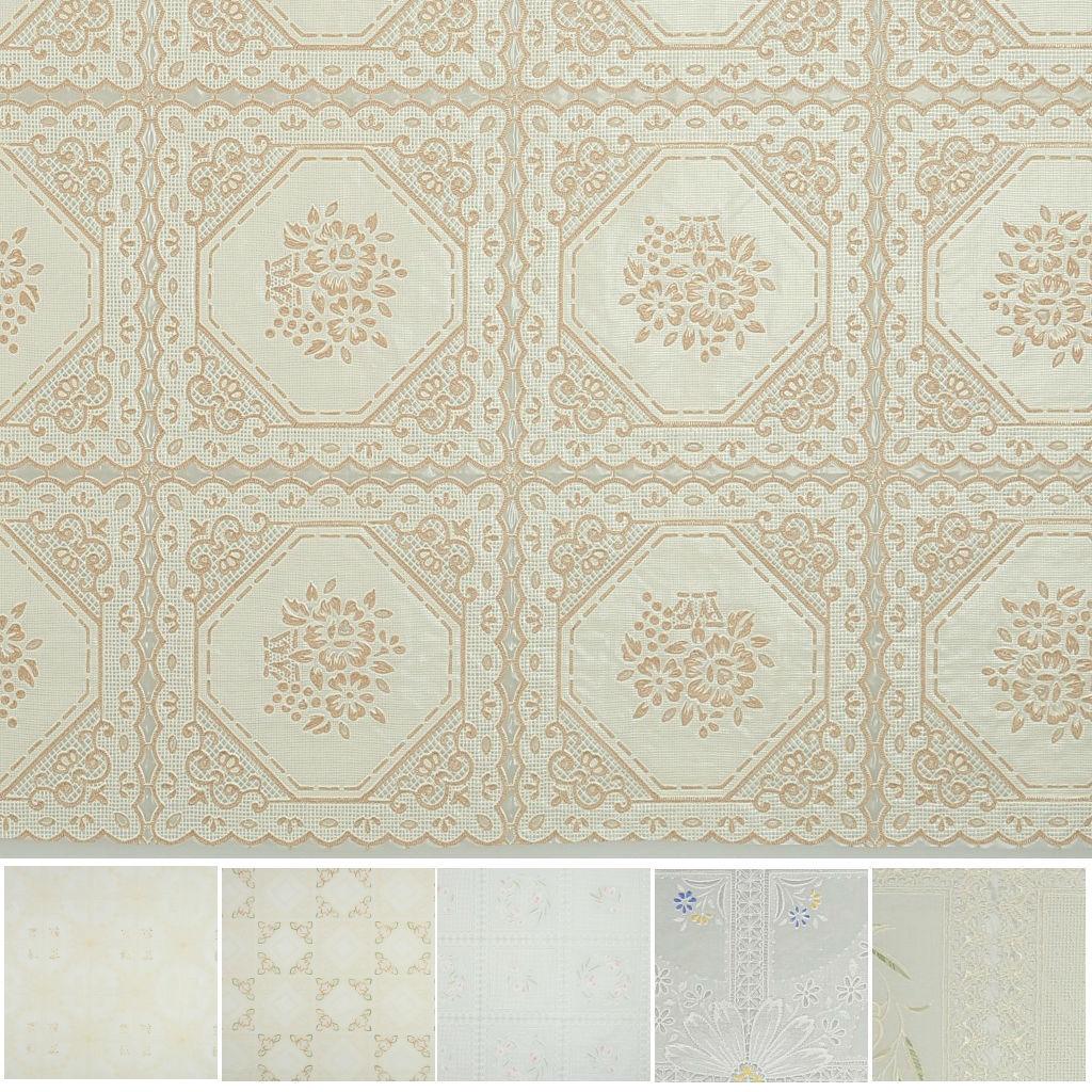 Meiwa Plastico Mantel Encaje PVC Flor De Cera Blanca - 138cm