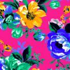 Algodón California Flor Grande Rosa Fiusha