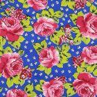 Algodon Roma Flor Mediana Azul Rey
