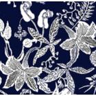 Seda Royal Estampada 1.10 Flor Mediana Azul Marino