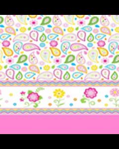 Algodón Micro Fibra Estampado Cenefa Rosa Pastel