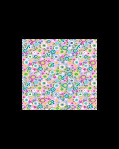 Algodón Micro Fibra Estampado Mariposa Floral Rosa Pastel