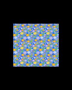 Algodón Micro Fibra Estampado Hojas Azul Cielo