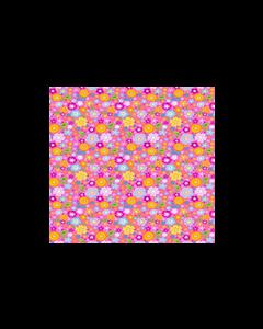 Algodón Micro Fibra Estampado Hojas Rosa Pastel