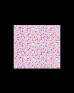 Algodón Micro Fibra Estampado Flor Mini Rosa Pastel
