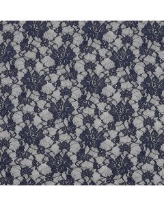 Encaje Stretch Flor Grande Azul Marino