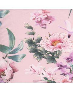Lino Estampado Flor Grande Rosa Pastel