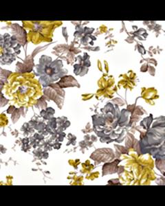 Loneta Portuguesa Flores Gris Oxford
