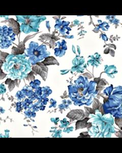 Loneta Portuguesa Flores Azul Rey