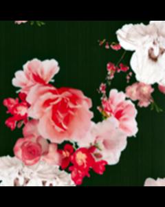 Organza Digital Flor Grande Azul Marino