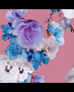 Organza Digital Flor Grande Rosa Medio