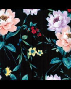 Organza Digital Flor Bouquet Negro