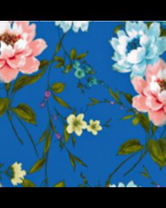Organza Digital Flor Bouquet Azul Rey