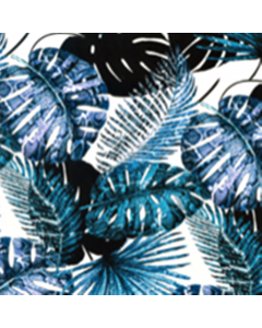 Organza Digital Tropical Azul Marino