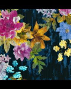 Organza Digital Flor Textura Azul Marino