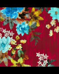 Organza Digital Flor Textura Rojo Vino