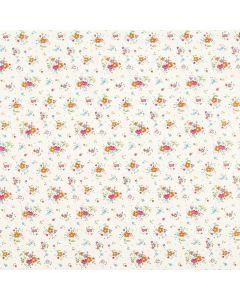 Caja de Plastico Contact Estampado Flores Blanco con 6 rollos