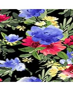 Rayon Chalis Flor Grande Negro