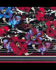 Rayon Lino Estampado Flor Grande Negro