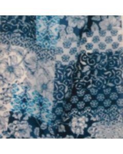 Rayon Lino Estampado Parche Azul Turquesa