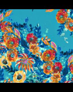 Rayon Lino Estampado Flor Grande Azul Turquesa