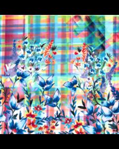 Rayon Lino Estampado Flor Grande Rosa Medio
