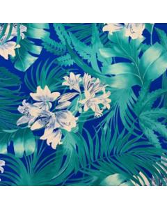 Seda Italiana Estampada Palmas Azul Rey