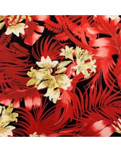Seda Italiana Estampada Palmas Rojo