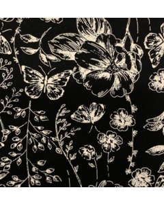 Seda Italiana Estampada Plantas Negro
