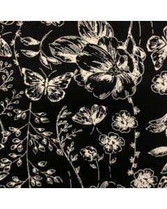 Seda Italiana Estampada Flor Etnica Negro