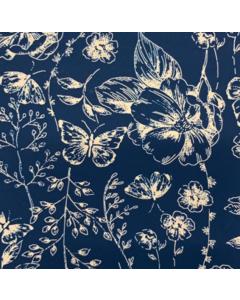 Seda Italiana Estampada Plantas Azul Marino
