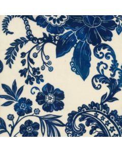 Seda Italiana Estampada Flor Etnica Azul Marino