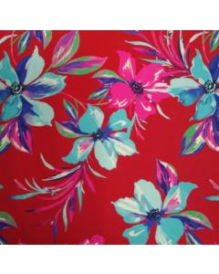 Shiffon Yoryu Estampado Floral Rojo
