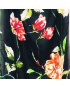 Shiffon Crepe Flor Parches Negro
