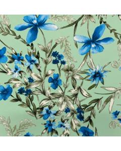 Shiffon Crepe Flores Verde Menta
