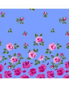 Smock Chico .60Cm Rosa Cenefa Azul Cielo